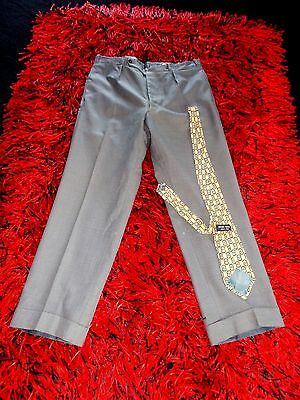 Mens Vintage 50S Trousers Vgc Am Dram  Rockabilly 36 Lindyhop Buttons Grey Fleck