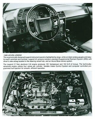 1988 Acura Legend Interior & Engine ORIGINAL Factory Photo och5727