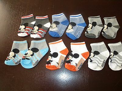 6 Pairs of Mickey Mouse Ankle Socks Baby Size 12 - 18 Months