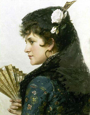 Oil painting female portrait - Young woman holding fan wearing white flowers art