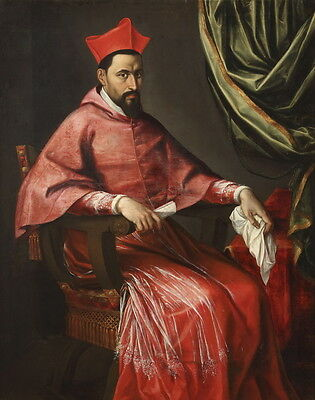 Charming art Oil painting male portraits cardinal hierarch seated in red cloth