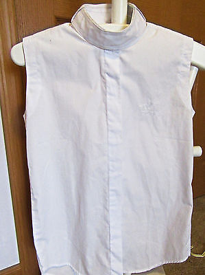 riding white show shirt child 10 or 16 no sleeve ratcatcher  2 collars