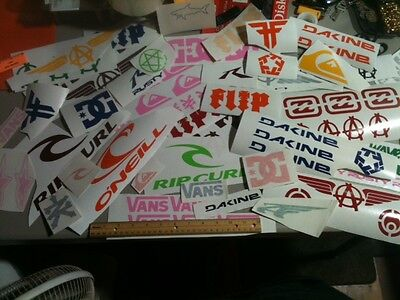 Lot of OVER 65 surf, skate and popular decal collection, stickers, vans, DC etc.
