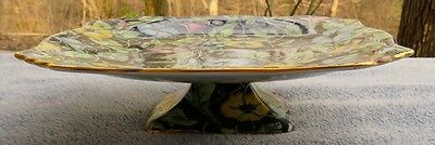 Royal Winton Morning Glory Black Floral Chintz Footed Cake Pedestal Plate
