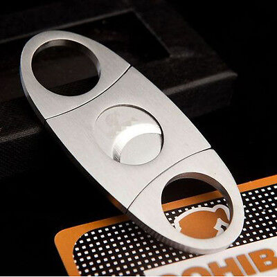 Silver Stainless Steel Pocket Cigar Cutter Knife Double Blades Scissors Shears@.