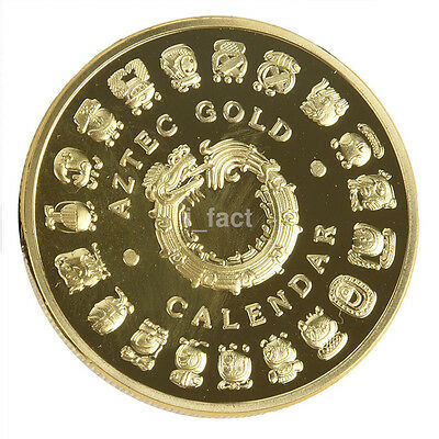 1PC Mayan Prophecy Calendar Coin Gold Plated Commemorative Collection Coin US
