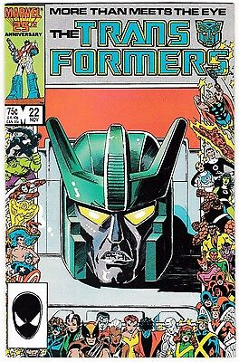 TRANSFORMERS #22 (VF/NM) Marvel 25th Anniversary Cover! 1st Stunticons!