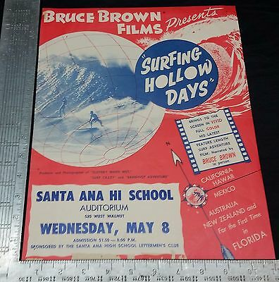 "Original 1962 Surf Movie Poster - SURFING HALLOW DAYS - Bruce Brown 14"" X 11"""
