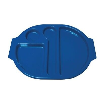 Kristallon (Pack of 10) Plastic Food Compartment Tray Blue Large BARGAIN