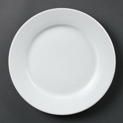 Olympia (Pack of 12) Whiteware Wide Rimmed Plates 250mm BARGAIN