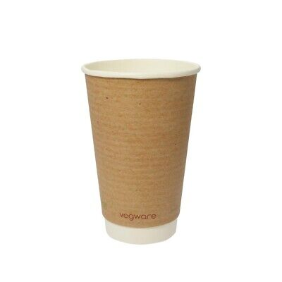 Vegware (Pack of 500) Compostable Double Wall Hot Cup 455ml BARGAIN
