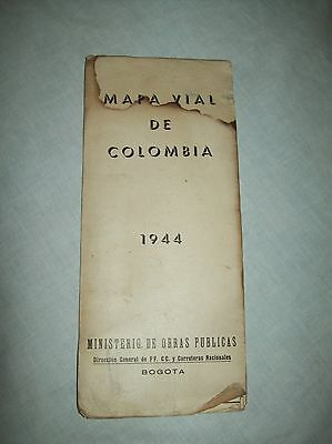 "scarce Mapa Vial de Colombia Colombian govt fold out Map Bogota 1944 59"" by 23"