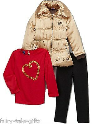 OK KID GIRLS THREE PIECE COAT, TOP AND LEGGINGS SET 2YRS - New
