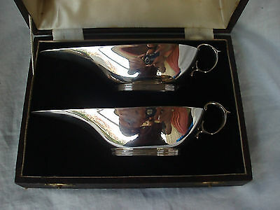 Pr Long Spout Sauce Boats In Box Sterling Silver Birmingham 1939