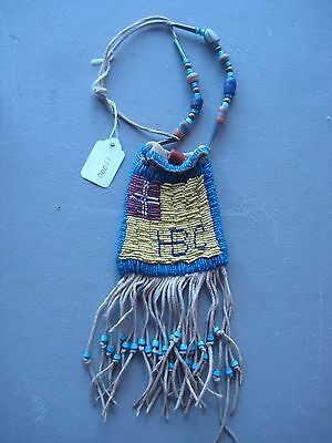 Northern Plains Beaded  Medicine Pouch, Hudson Bay Beaded Bag, #co-00011