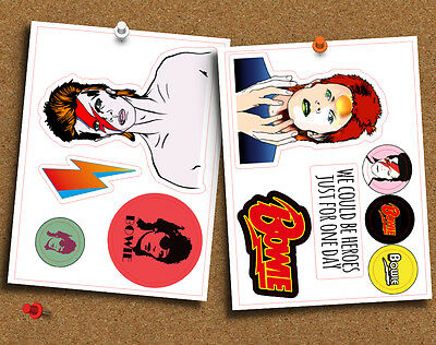 David Bowie Set of 10 Die Cut Gloss Stickers, for Laptop, Planner or Whatever