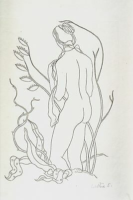 "Lettice Sandford British Line Engraving ""Female Nude"" C 1930"