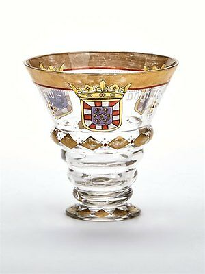 Antique German Armorial Enameled Glass Dated 1632 19Th C.