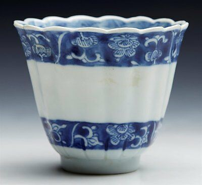 Antique Chinese Fluted Blue & White Chocolate Cup 1662-1722