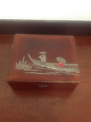 Vintage Japanese Laquered Jewellery Box Boat River Scene