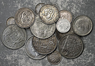 15 Australia Silver Coins - 1910-1961 - See description for details
