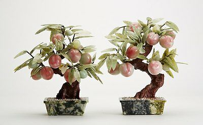 Fine Vintage Pair Chinese Hardstone Peach Trees In Pots