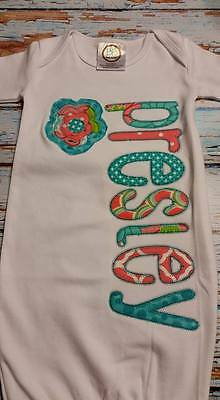 Personalized Baby Gown (Girl) Coral & Turquoise