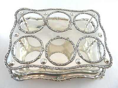 ANTIQUE FRENCH SILVER PLATE CHAMPAGNE WINE HOLDER STAND HOLDS 6 Bottles