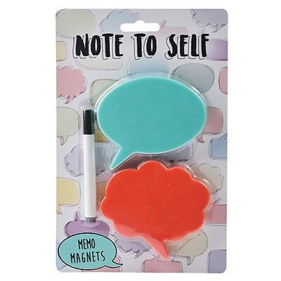 Note To Self Memo Fridge Magnets Wipe Clean Magnetic Post It Notes + Marker Pen