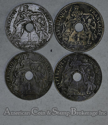 French Indochina 1 Cent 1906 1922 19231939 bronze 4 Coin Lot Key Date Included