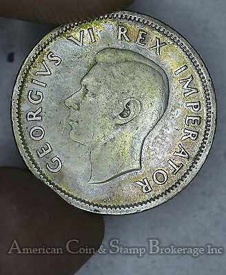 South Africa 1 Shilling 1937 silver KM#28 George VI Light Gold Tone