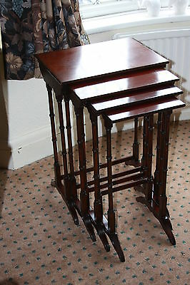 Antique Mahogany Edwardian Nest Of 4 Quartetto Coffee Lamp Side End Tables
