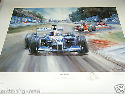 Juan Pablo Montoya Williams Monza 2001 F1 Autographed Signed Alan Fearnley Print