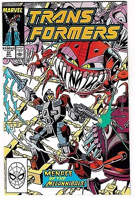 "TRANSFORMERS #52 (NM-) ""Menace of the Mechannibals!"" Marvel 1989 LQQK"