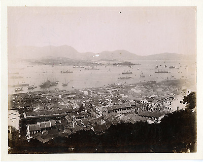 China, hong kong vintage  print, Chine Tirage albuminé  20x25  Circa 1890