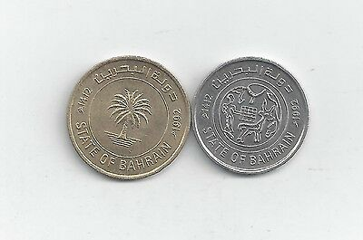 2 DIFFERENT COINS from BAHRAIN - 10 & 25 FILS (BOTH DATING 1992)
