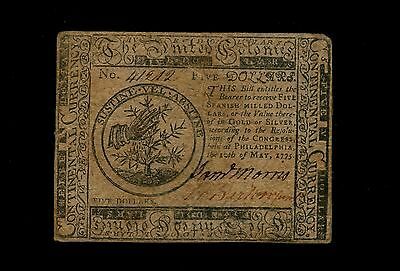 Continental Currency $5 (CC-5) May 10, 1775 Signed by Samuel Morris in Philadel.