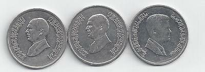 3 DIFFERENT 5 PIASTRE COINS from JORDAN (1996, 1998 & 2009)