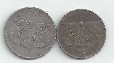 2 DIFFERENT COINS from the YEMEN REPUBLIC - 1974 10 FILS & 1985 50 FILS