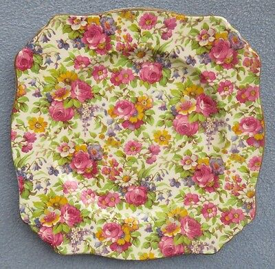 Royal Winton Summertime Floral Rose Chintz Ascot Square Lunch Plate