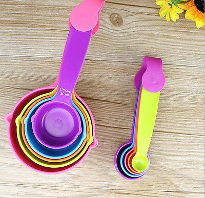 5Pcs Plastic Measuring Cups Measuring Spoons Set Baking Teaspoon Kitchen Tools