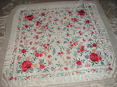 Vintage Silk Embroidered Floral Piano Scarf