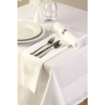 Satin Band Tablecloth White 178 x 274cm BARGAIN