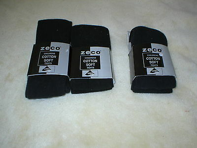 Brand New 3 Pairs Of Zeco Childrens Soft Cotton Tights Navy, Black Girl Age 9-10