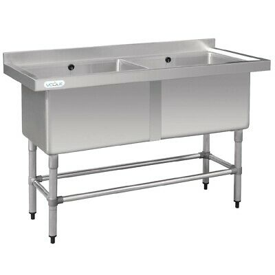 Commercial Vogue Stainless Steel Deep Double Pot Double Sink Trough 1.44M