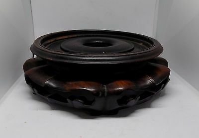19th Century Large Chinese Hand Carved Hard Wood Vase Or Bowl Stand Circa 1850