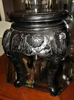 "Vintage Oriental Black Lacquer Wooden Pot Stand Table Lovely Carving 12"" High"