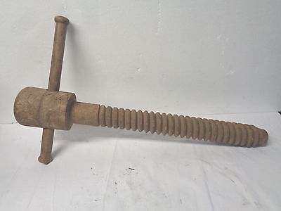Large primitive wooden cider screw press with handle--very good condition
