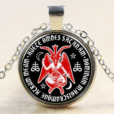 Baphomet Sabbatic Goat Head Glass Dome Art Pendant Satan Amulet Necklace