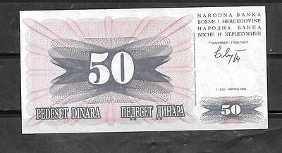 BOSNIA #12a 1992 USED XF OLD WARTIME 50 DINARA BANKNOTE NOTE PAPER MONEY